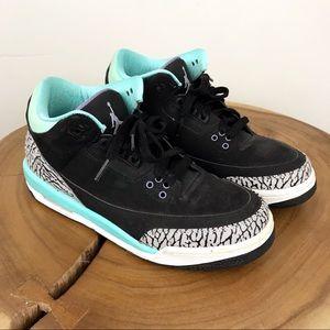 JORDAN AIR Retro 3s Tiffany Blue Black Sneaker 8.5